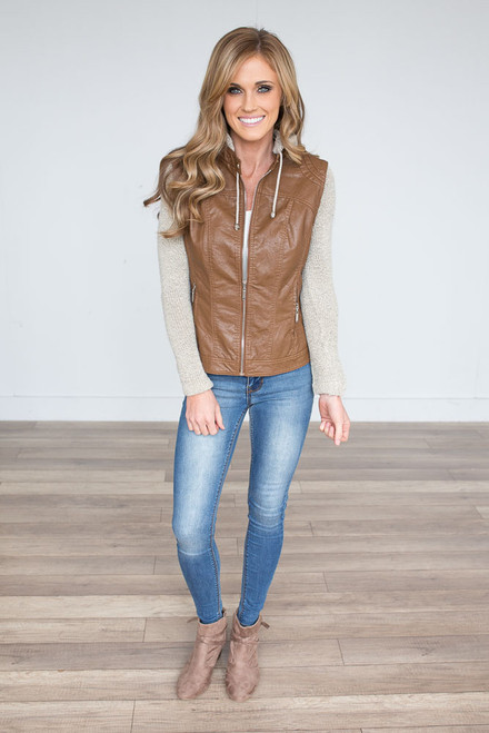 Faux Leather Sweater Detail Jacket - Camel - FINAL SALE