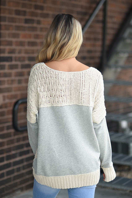 Cable Knit Sweatshirt Detail Sweater - Ivory - FINAL SALE
