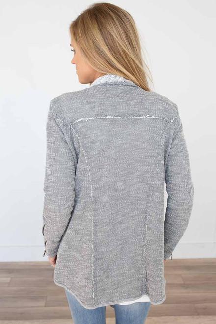 Zipper Detail Cardigan - Heather Grey