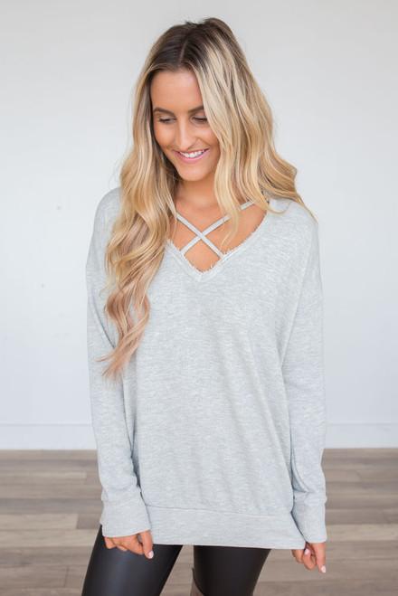 Criss Cross Detail Sweatshirt - Heather Grey