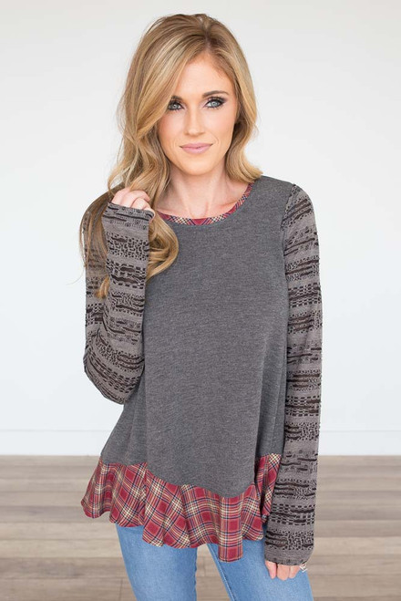 Distressed Detail Plaid Top - Charcoal - FINAL SALE