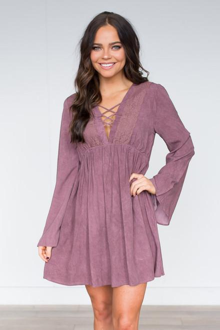 Vintage Wash Lace Detail Dress  - Berry