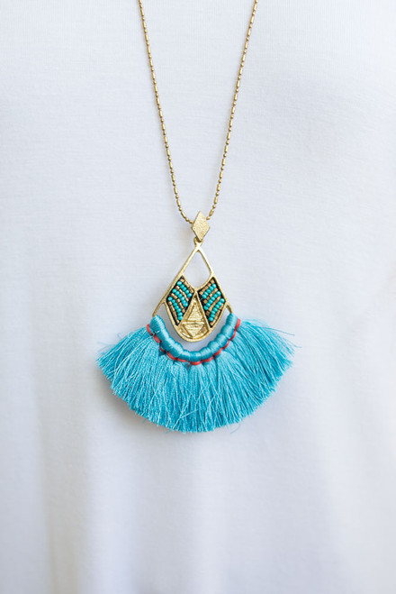 Simba Fringe Necklace - Electric Blue  - FINAL SALE