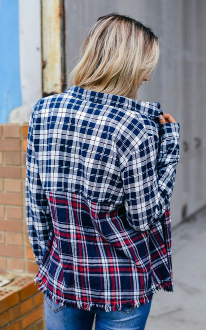 Plaid Contrast Pocket Top - Navy/Red - FINAL SALE