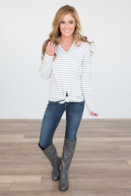 Tie Front Striped Hoodie - White/Grey - FINAL SALE