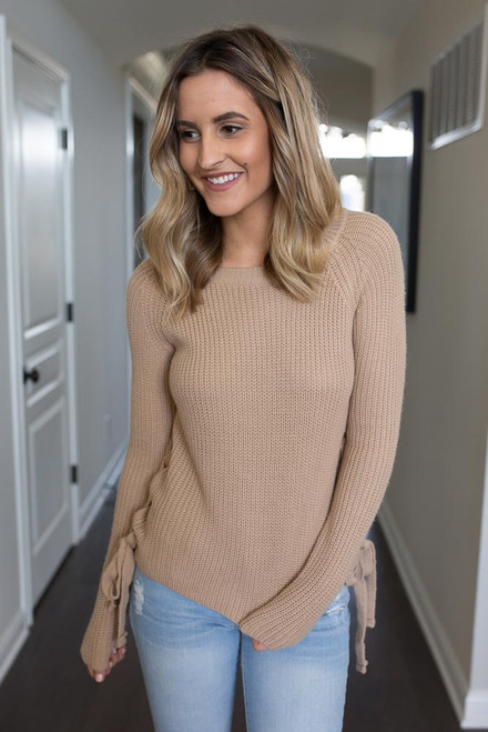 Lace Up Side Sweater - Taupe - FINAL SALE