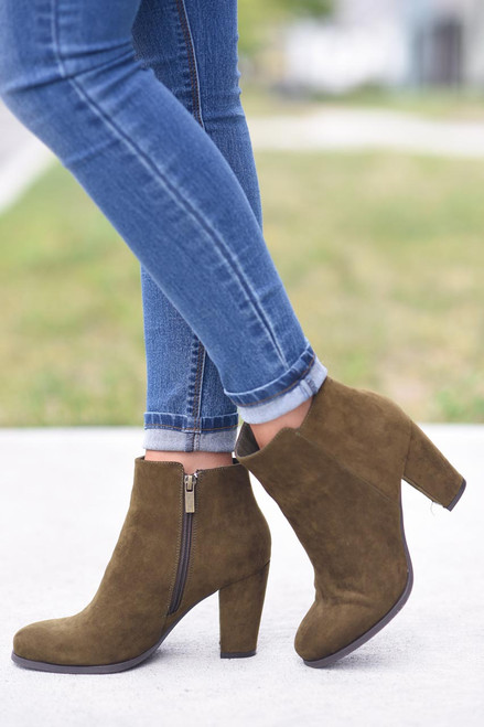 Faux Suede Booties - Harvest Olive - FINAL SALE