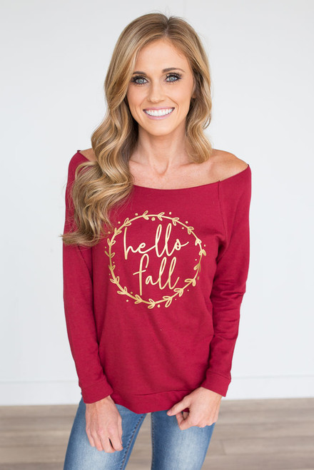 Hello Fall Terry Sweatshirt - Burgundy - FINAL SALE