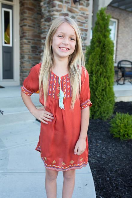 Kids Tribal Embroidered Dress - Rust - FINAL SALE