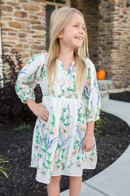 Kids Floral Embroidered Dress - White Multi - FINAL SALE
