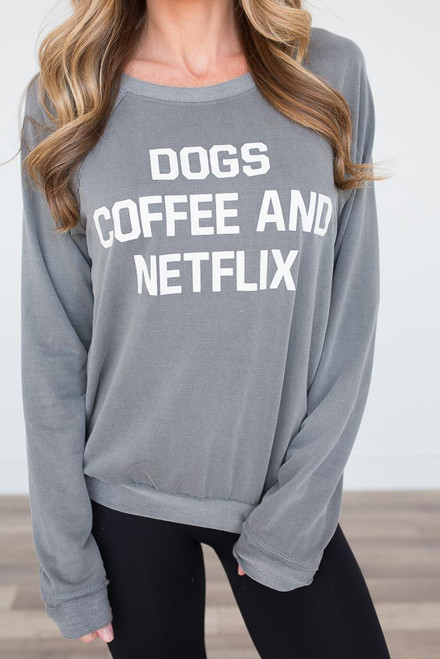 Dogs, Coffee, & Netflix Top - Vintage Charcoal - FINAL SALE