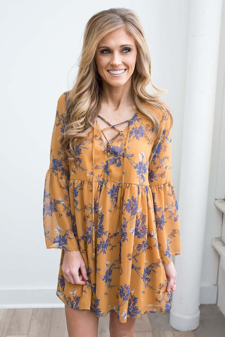 Lace Up Floral Babydoll Dress - Mustard - FINAL SALE
