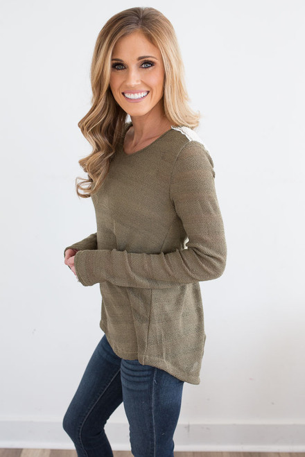 Lace Detail Tulip Back Top - Olive - FINAL SALE