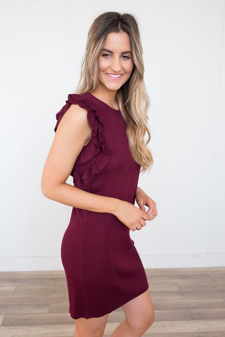 Ruffle Sleeve Sweater Dress - Burgundy - FINAL SALE