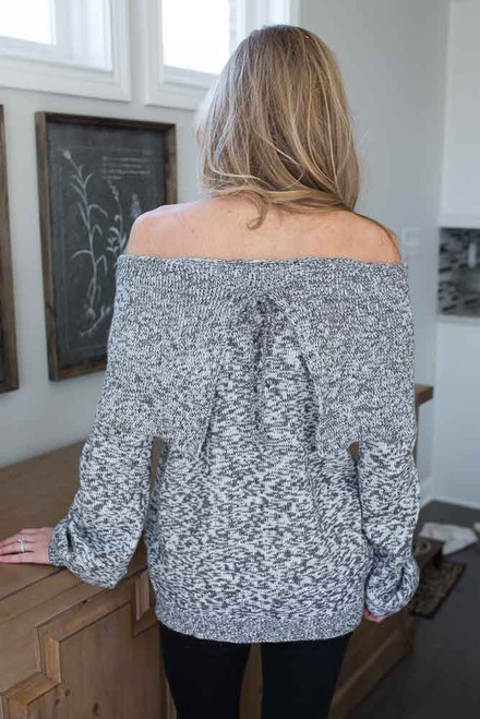Off the Shoulder Marbled Sweater - Grey - FINAL SALE