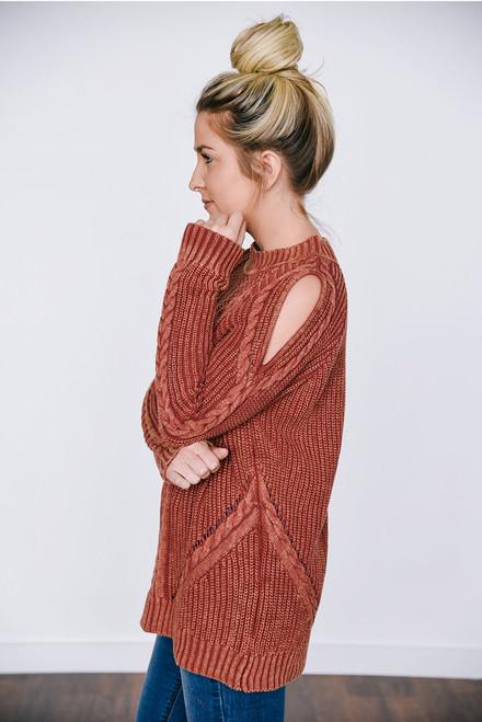 Amara Cutout Shoulder Sweater - Burnt Orange