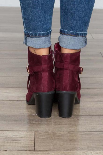 Faux Suede Ankle Wrap Booties - Wine - FINAL SALE
