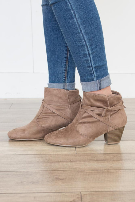 Tie Me Up Suede Booties - Taupe - FINAL SALE