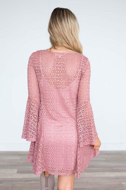 Cutout Bell Sleeve Dress - Wild Rose - FINAL SALE