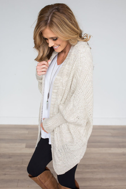 Dolman Cable Knit Cardigan - Ivory