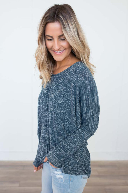Two-Tone Ribbed V-Neck Top - Teal - FINAL SALE