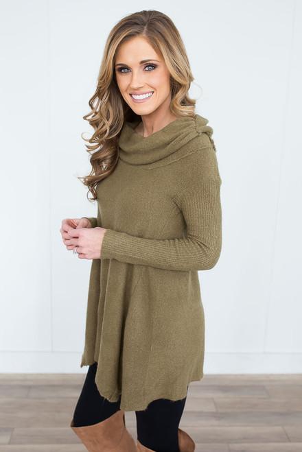 Off the Shoulder Soft Sweater - Olive - FINAL SALE