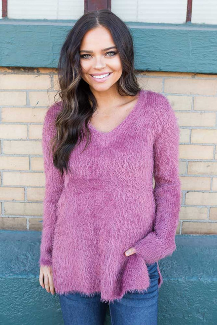 BB Dakota Pam Eyelash Sweater - Rose - FINAL SALE