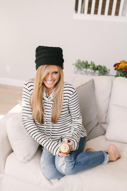 Striped Cowl Neck Sweatshirt - Black/White - FINAL SALE