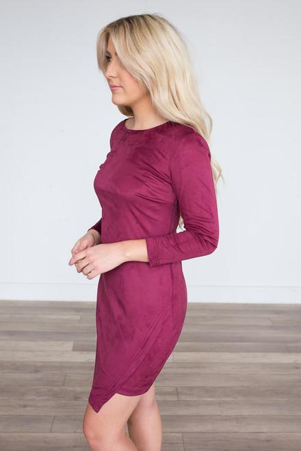 BB Dakota Jen Suede Dress - Burgundy - FINAL SALE