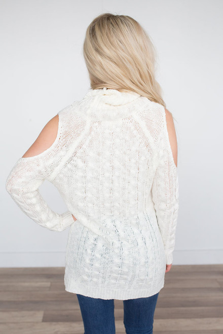 Cold Shoulder Cable Sweater - Ivory - FINAL SALE