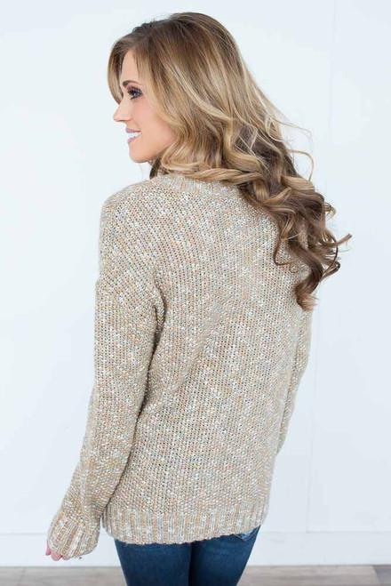 Fall Foliage Cable Knit Sweater - Sage Multi - FINAL SALE