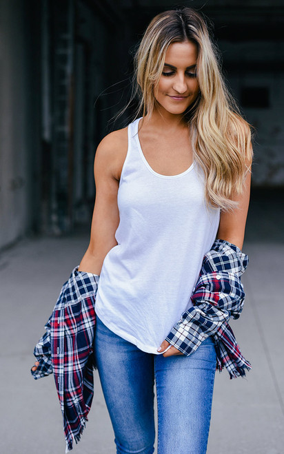Basic Solid Tank Top - White