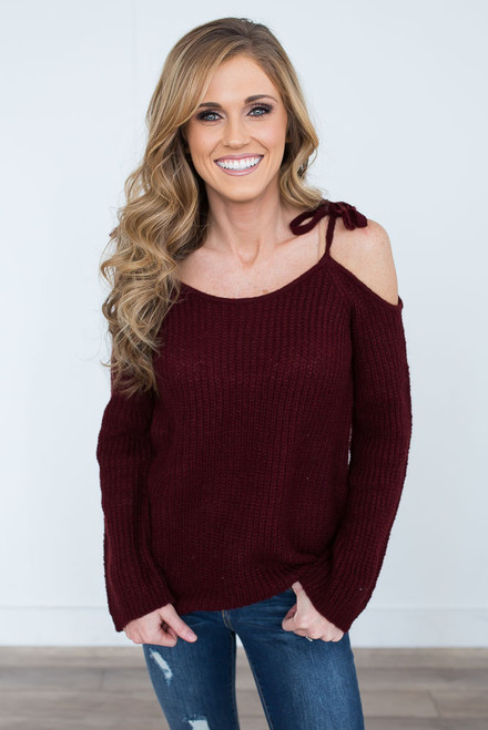 BB Dakota Mellie Sweater - Burgundy - FINAL SALE