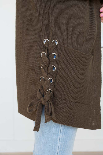 Lace Up Pocket Cardigan - Olive - FINAL SALE