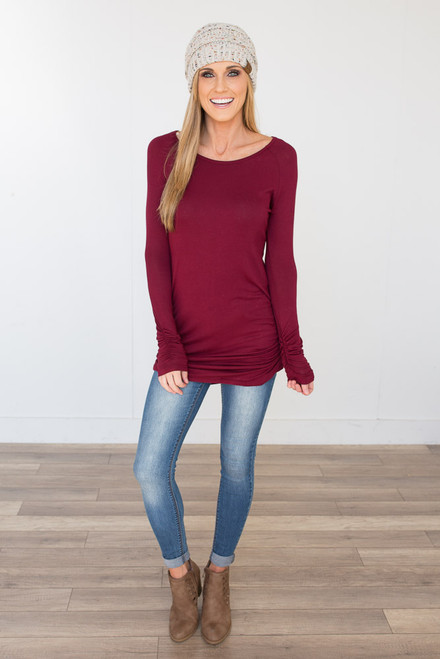 Long Sleeve Ruched Knit Tunic - Burgundy