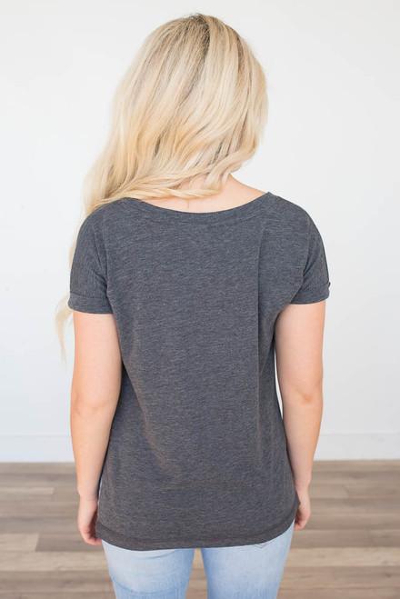 Short Sleeve Cuffed Tee - Charcoal - FINAL SALE