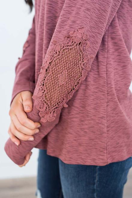 Crochet Detail Henley Top - Aurora Red - FINAL SALE