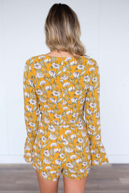 Daisy Wrap Romper - Mustard - FINAL SALE
