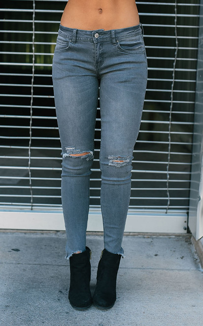Distressed Skinny Jeans - Warm Grey - FINAL SALE
