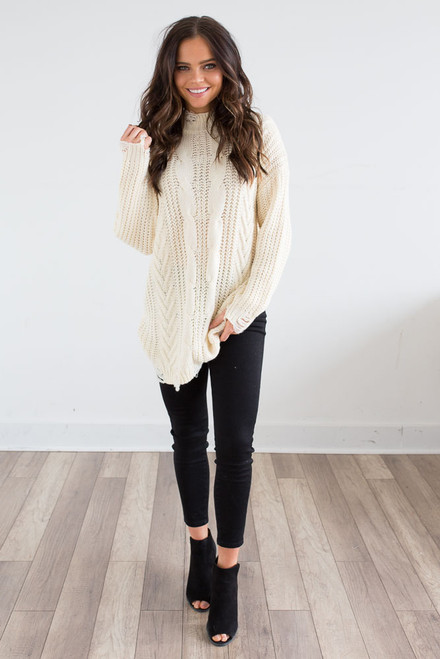 Distressed Cable Knit Sweater - Cream - FINAL SALE