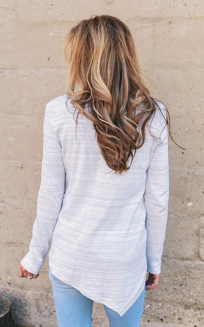 Layered Striped V-Neck Top - White Multi - FINAL SALE