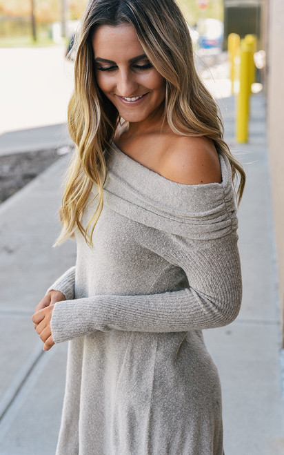 Off the Shoulder Soft Sweater - Oatmeal - FINAL SALE