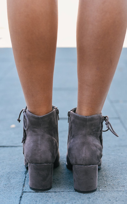 Lace Up Detail Booties - Taupe - FINAL SALE