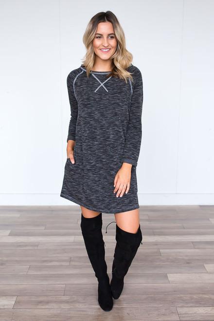 Fleece Lined Sweatshirt Dress - Heather Black - FINAL SALE