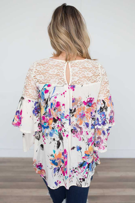Gardenia Bell Sleeve Lace Blouse - Ivory Multi - FINAL SALE