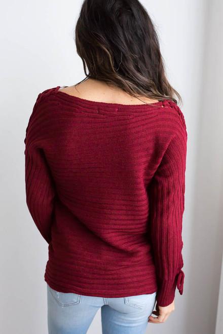 Lace Up Boatneck Sweater - Crimson - FINAL SALE