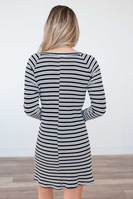 Ribbed Striped Dress - Black/Beige - FINAL SALE