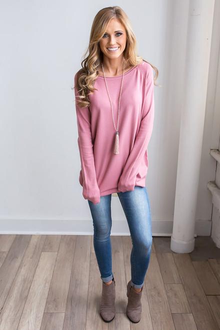Lightweight Boatneck Sweater - Dusty Rose  - FINAL SALE
