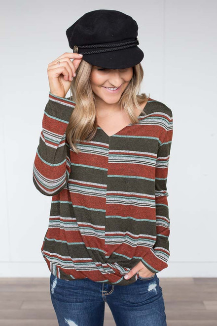 Striped Twisted Hem Top - Olive Multi - FINAL SALE