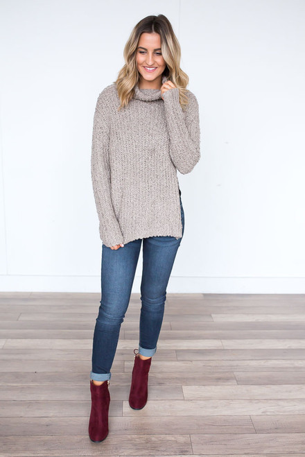 Mock Neck Side Split Sweater - Light Mocha - FINAL SALE